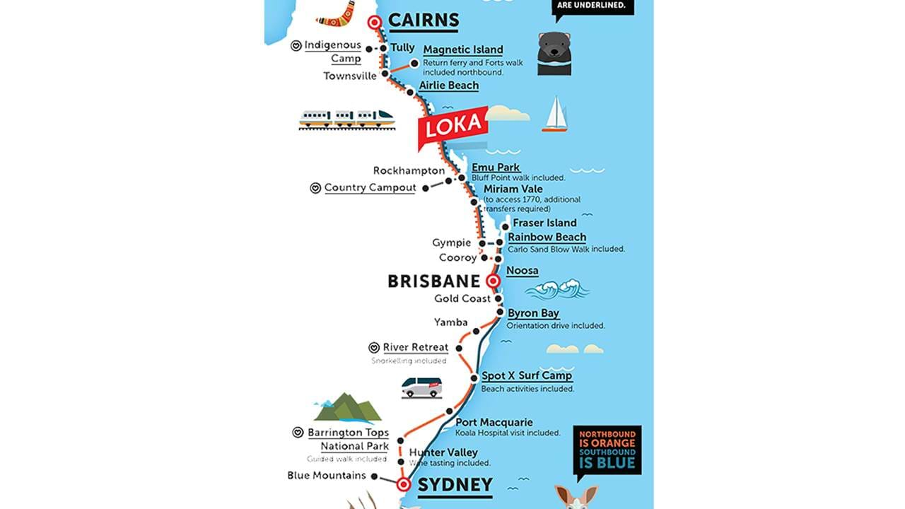 Map Of East Coast Of Australia.Loka Australia Bus Pass In Australia With Kilroy