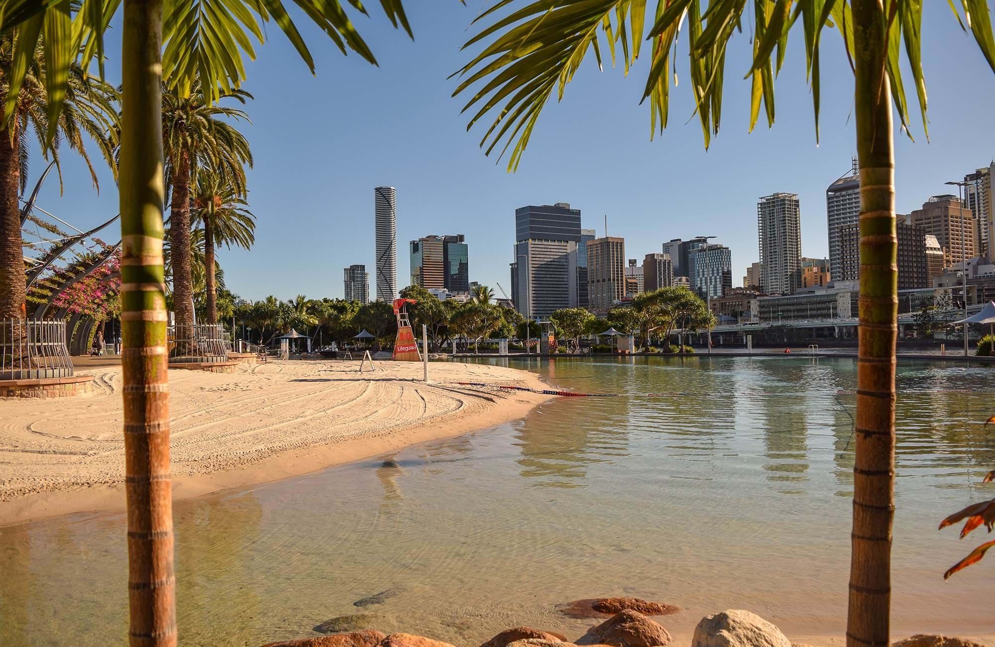 the manmade beach in brisbane is well visited and popular amongst students in Brisbane