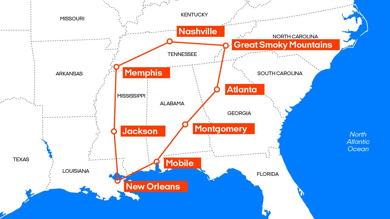 Southern State Map.Road Trip Usa Road Trip Through Southern States Kilroy