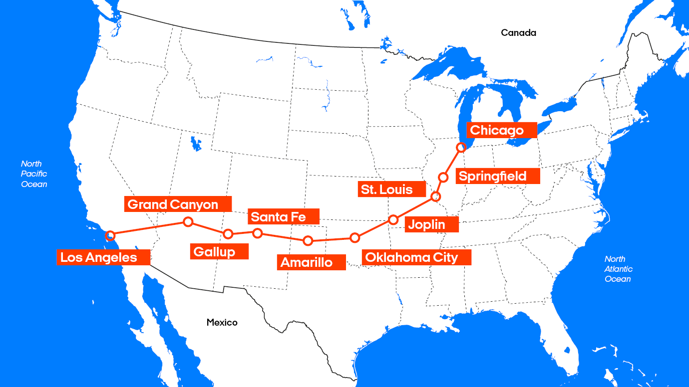 Road trip in USA | Road trip via Route 66 with KILROY Route California Map on