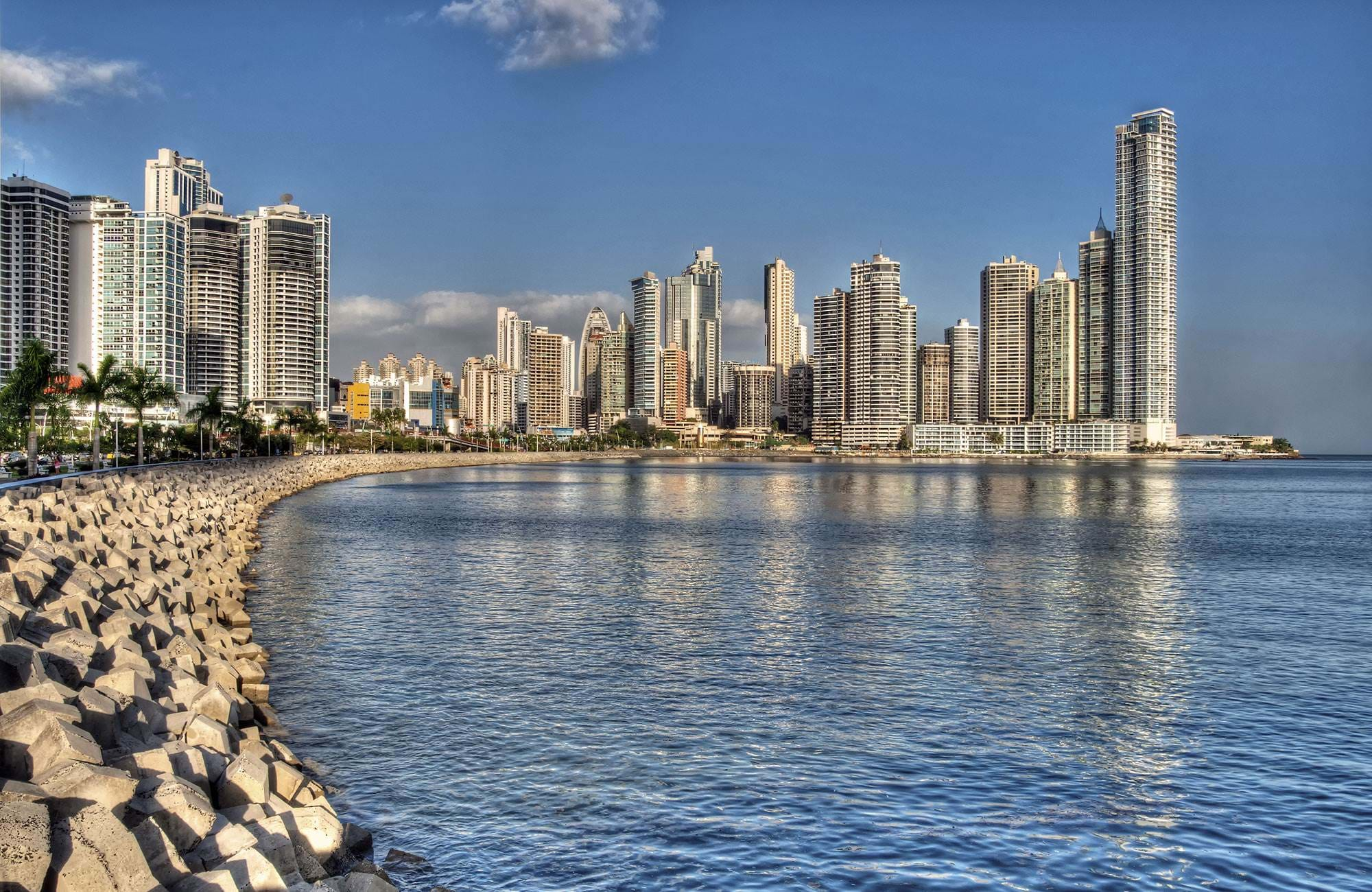 Panama Bay in Panama city. A view of the modern buildings and skyline by the water.