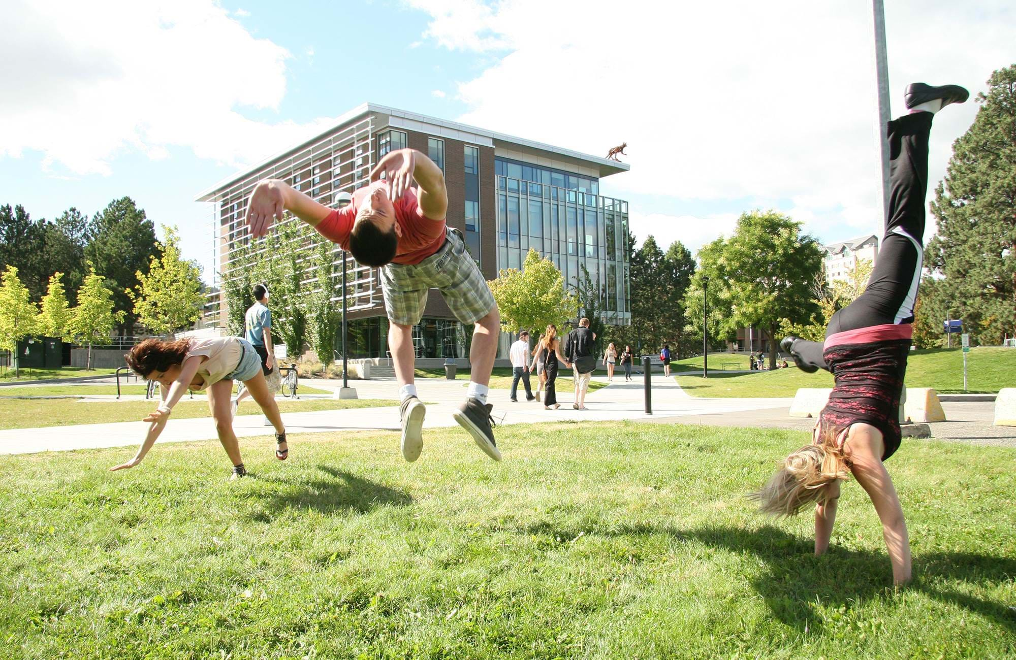Students doing backflips on campus in Kamloops