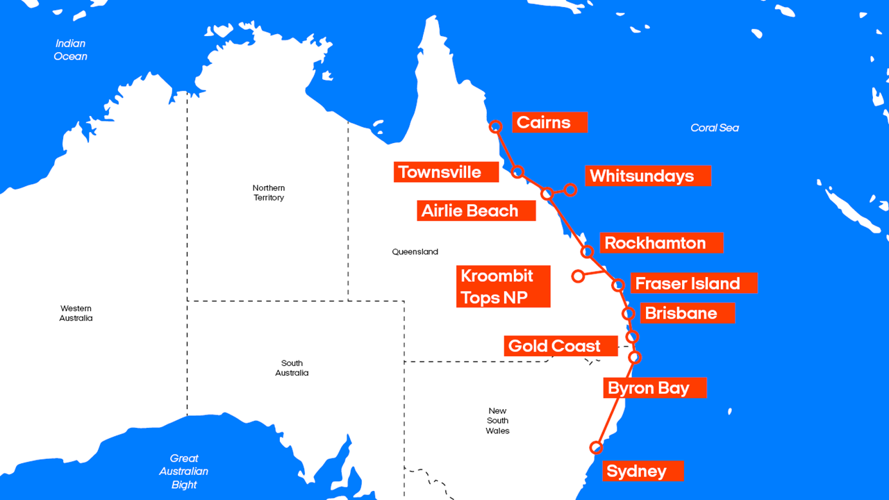 Map East Coast Of Australia.Road Trip Australia Road Trip On The East Coast Kilroy
