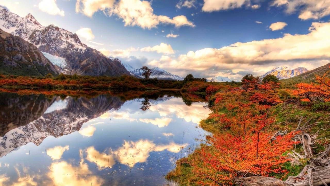 Seaside mountain and fall foliage at the Valle de Chaltan in Patagonia in Argentina