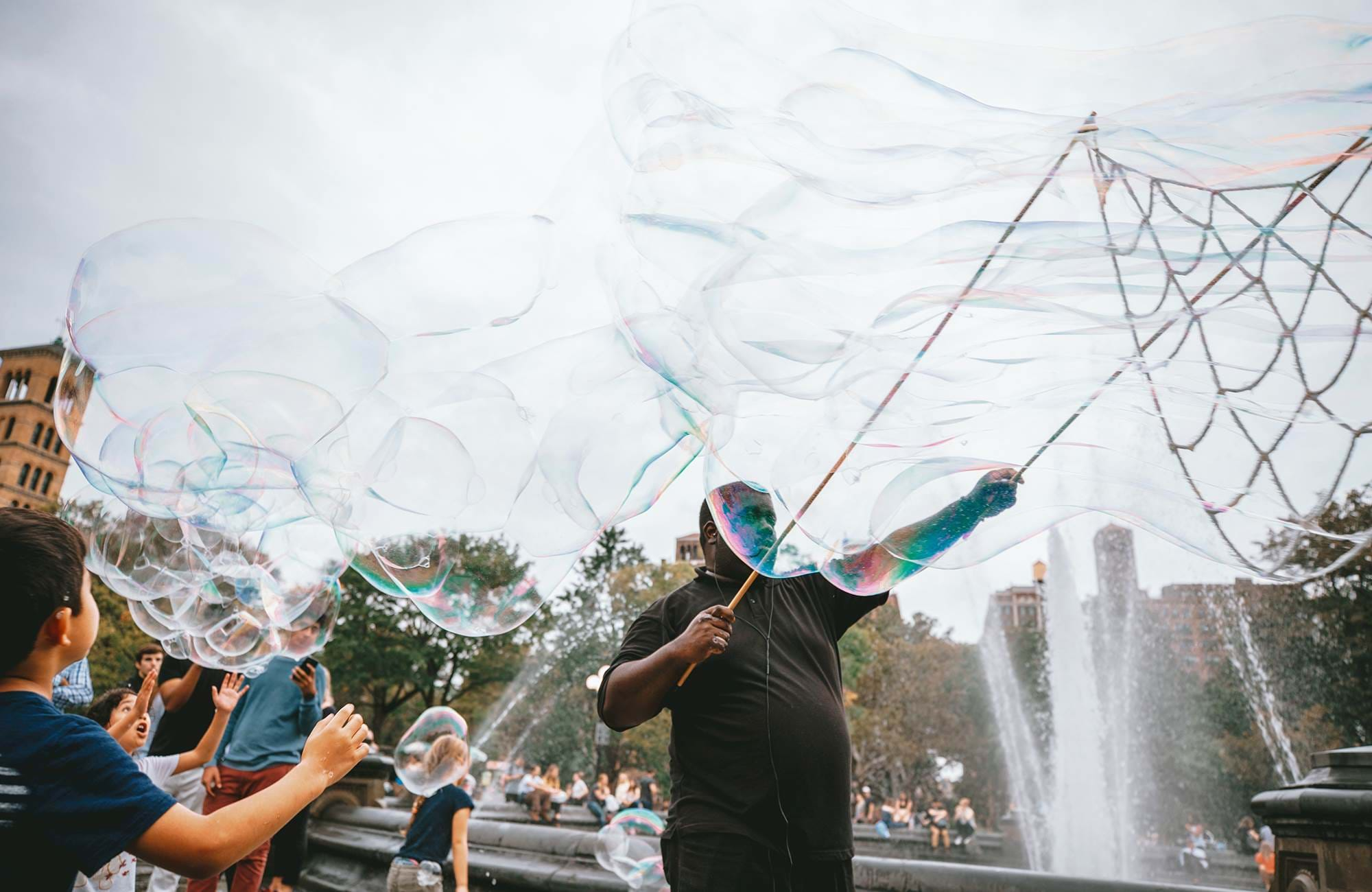 soap bubble performer in New York