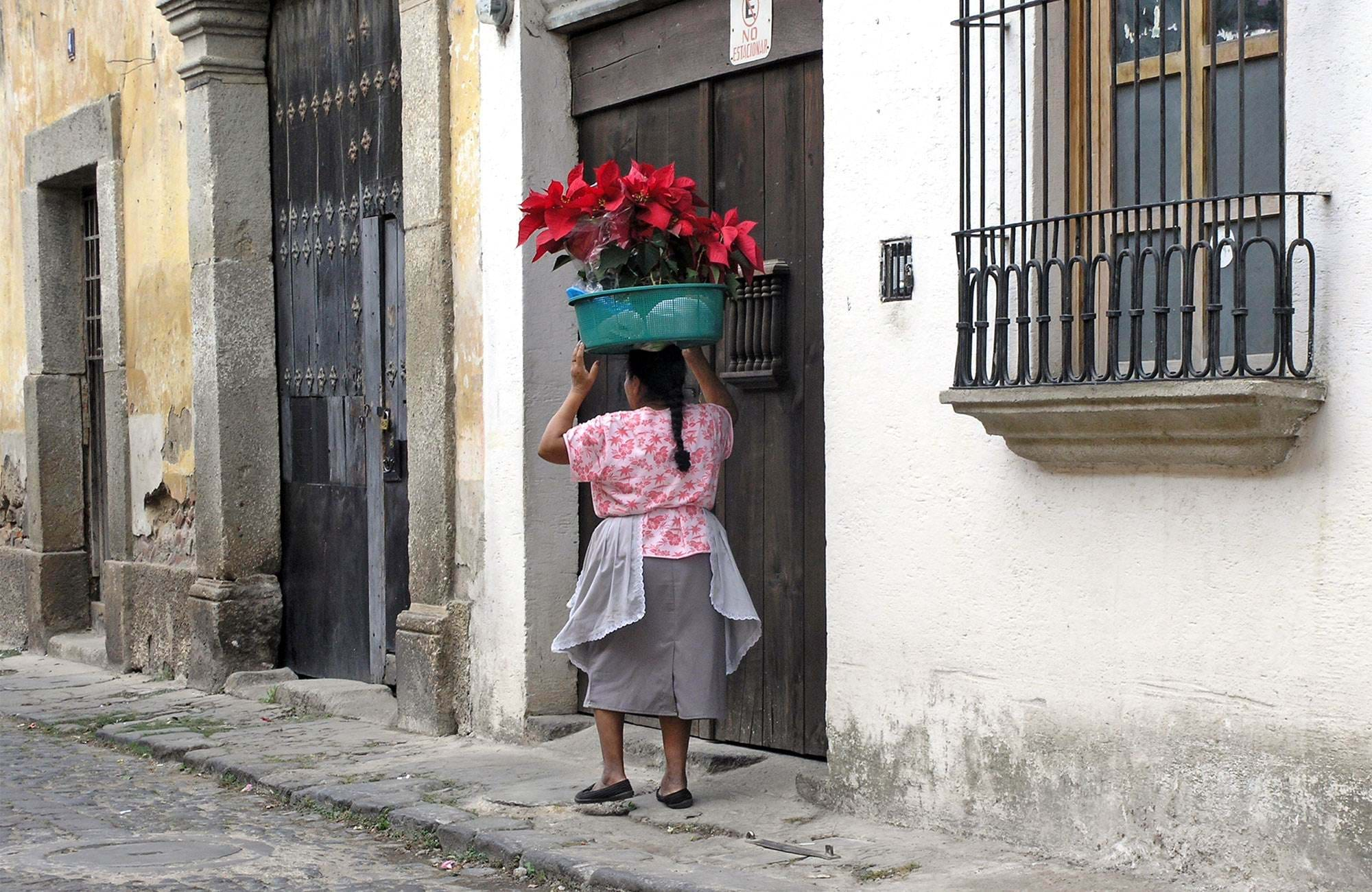 Lady carrying red flowers on her head in Antigua, Guatemala