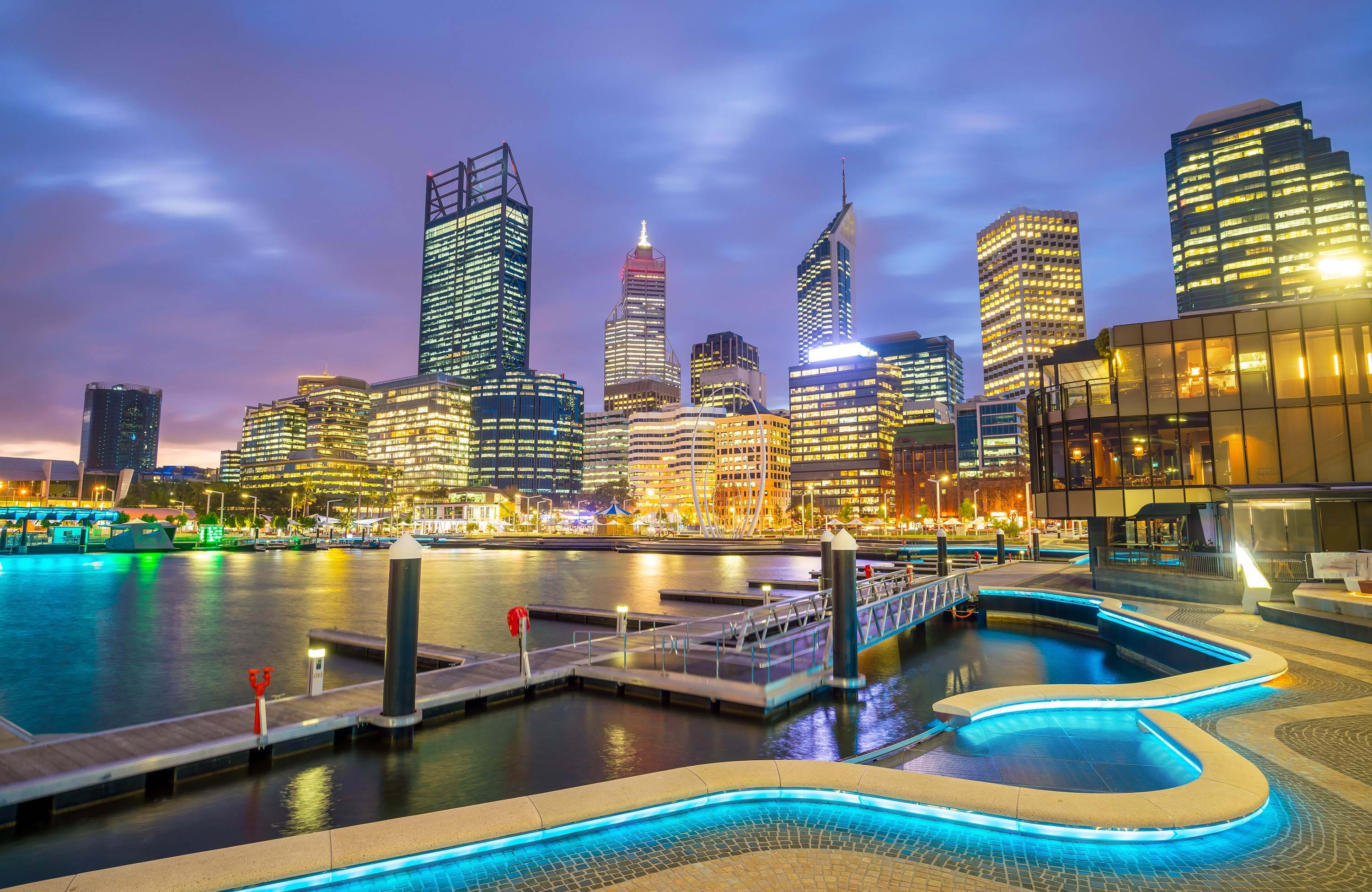 the perth skyline is amazing and you can study in perth with us