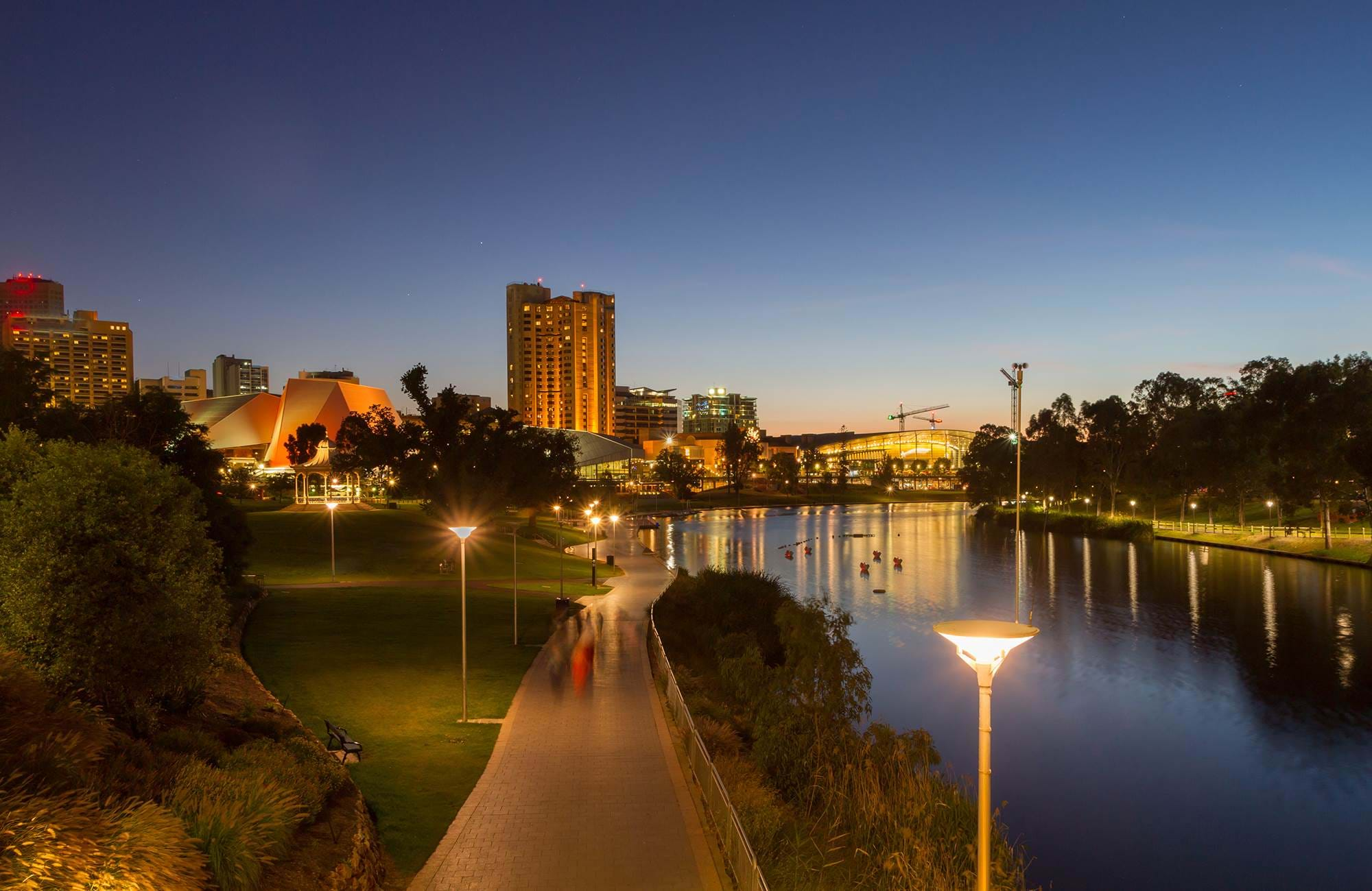 adelaide centre by night by the river
