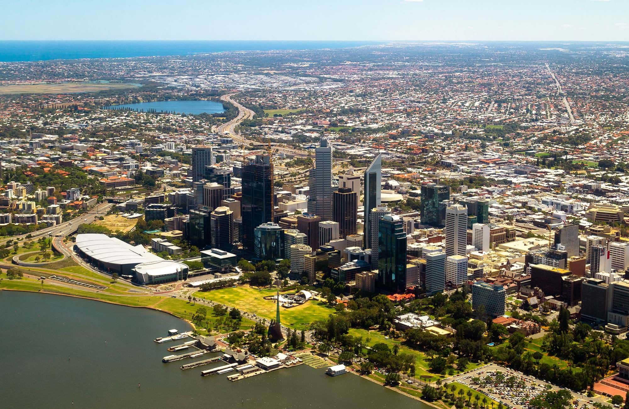 perth skyline in australia and the skyscrapers