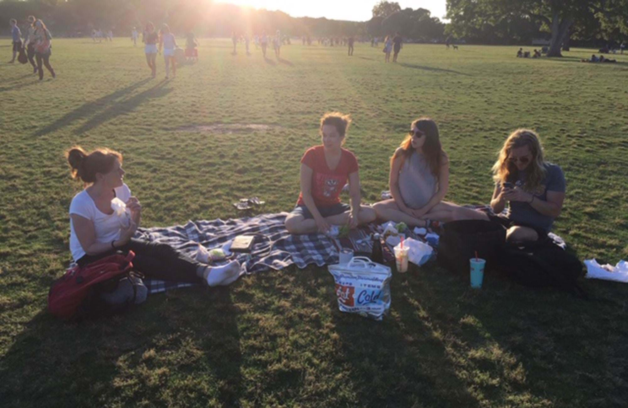 Elin and her internship friends in Austin in Texas doing a picnic