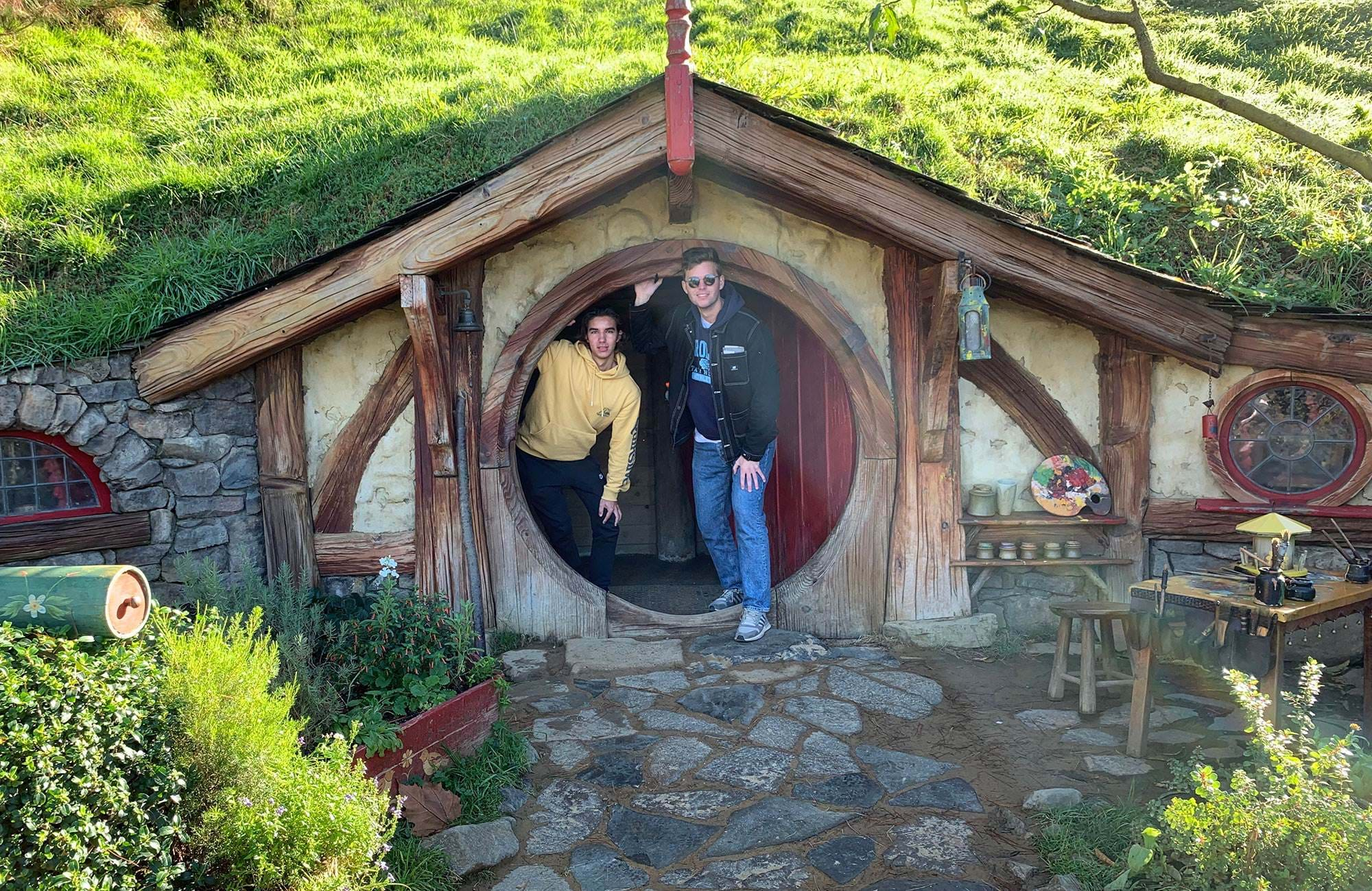 oliver in new zealand at the hobbit house