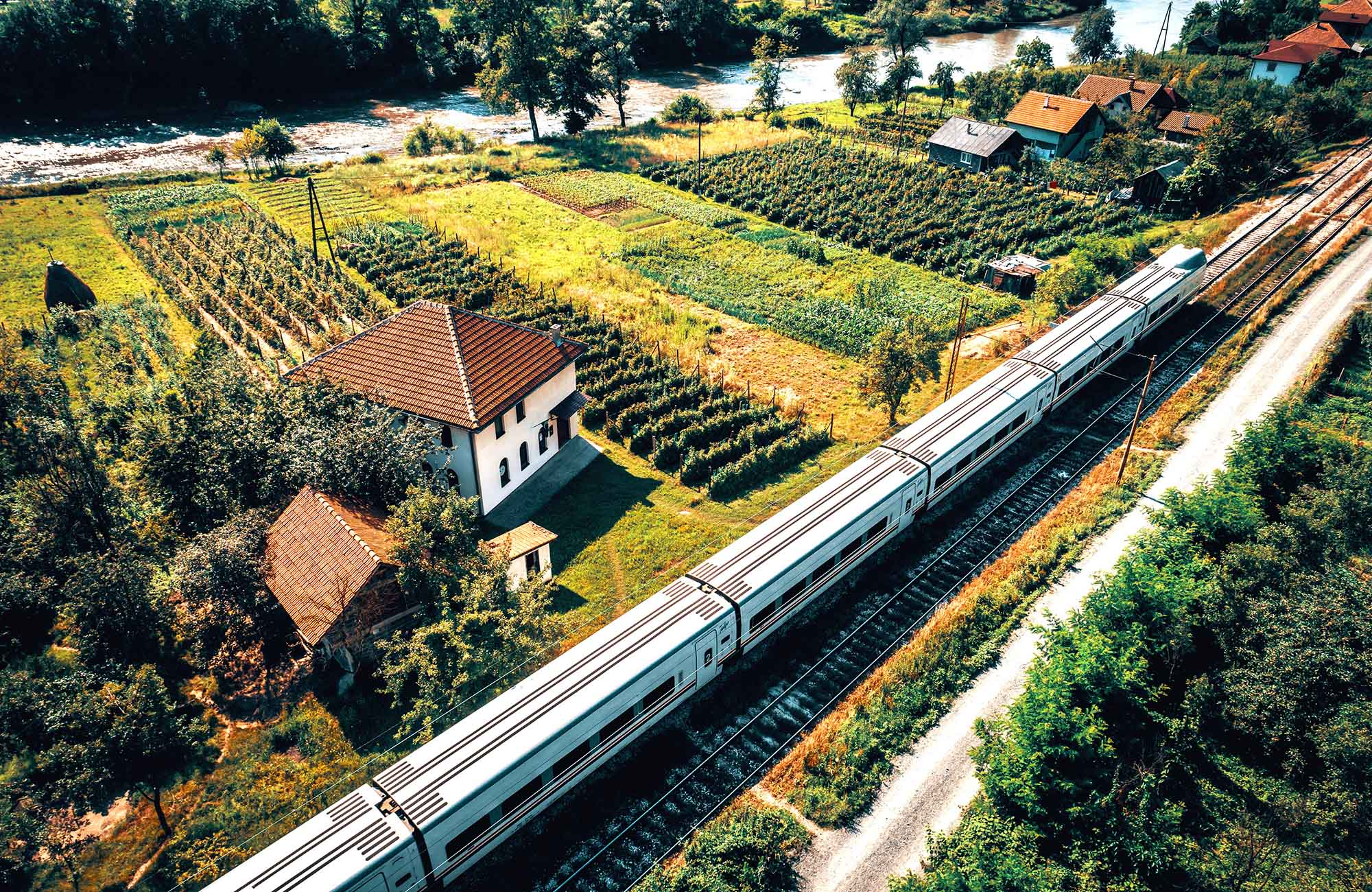travel with train through balkan